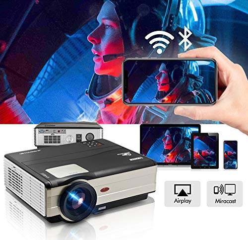 Projector WiFi Bluetooth 4200 Lumens 1080P Supported 200″ Multimedia Home Theater Cinema Projector Android6.0-50,000 Hours LED Full HD Video Projector, Compatible with HDMI USB (Latest Upgrade)