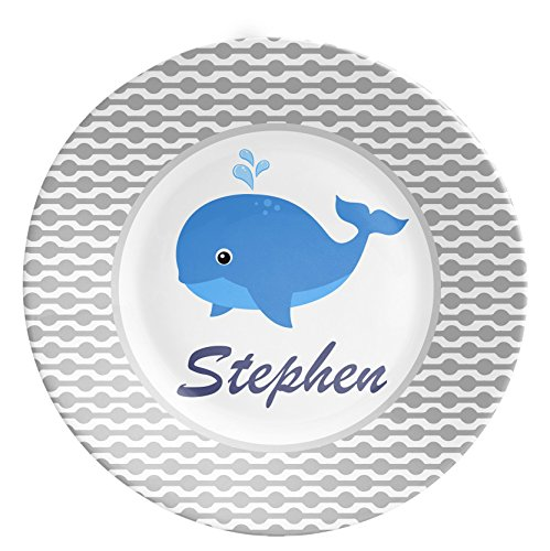 Personalized Plate Bowl Cup Set - Personalized Melamine Children - Whale Blue Gingham Dinnerware Set - Gift for Boys - Birthday Gift