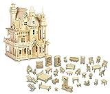Puzzled Furniture Set and Fantasy Villa Wooden 3D Puzzle Construction Kit