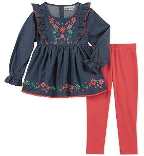- Kids Headquarters Girls' Little 2 Pieces Legging Set, Dark Blue/Pink, 4