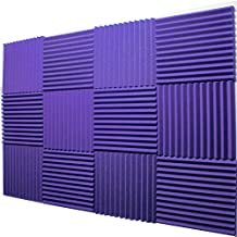 "Mybecca -12 Pack Acoustic Panels Studio Foam Wedges 1"" X 12"" X 12"" (Purple)"