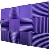 """Mybecca -12 Pack Acoustic Panels Studio Foam Wedges 1"""" X 12"""" X 12"""" (Purple)"""
