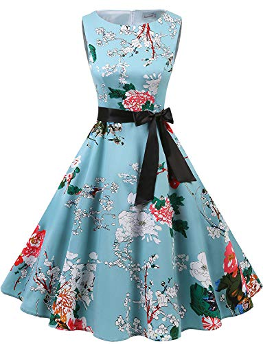 Gardenwed Women's Audrey Hepburn Rockabilly Vintage Dress 1950s Retro Cocktail Swing Party Dress Floral 3XL