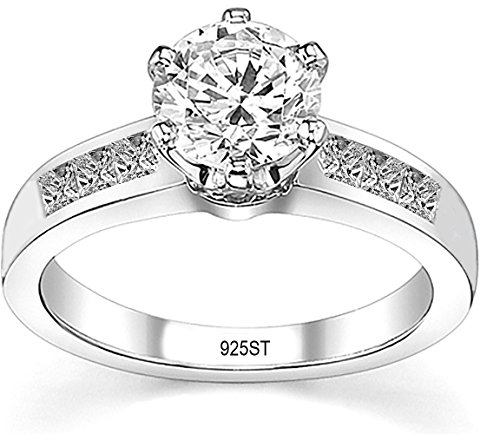 FANTOM Yes It's Sterling Solid 925 Sterling Silver Solitaire Round Cz Cubic Zirconia EngaSimulated Gement Ring 1.50 Carat Total Weight (4)