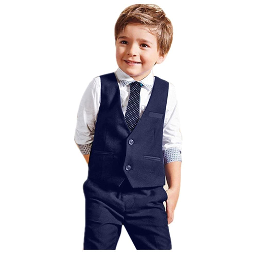 Sumen 4PCS Baby Suits Boys Wedding Shirts+Waistcoat+Long Pants+Tie Set bessky
