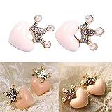Best Crystal CZs - Women Austrian Crystal Crown Pink Pearl Heart Earrings Review
