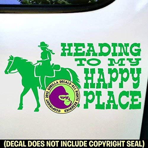 HEADING TO MY HAPPY PLACE Trail Rider Horse Love Vinyl Decal Sticker C