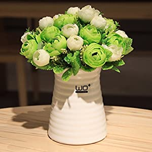 Situmi Artificial Fake Flowers  Camellia Ceramic Vases Tv Cabinet Decorated Green Home Accessories 12