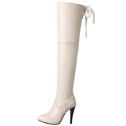 AIYOUMEI Damen Stiletto Overknee Stiefel mit 10cm Absatz High Heels Langschaft Stiefel DQfS44