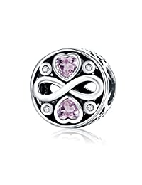 NINGAN Forever Love 925 Sterling Silver Bead Charms Fits Pandora, European Bracelets Compatible