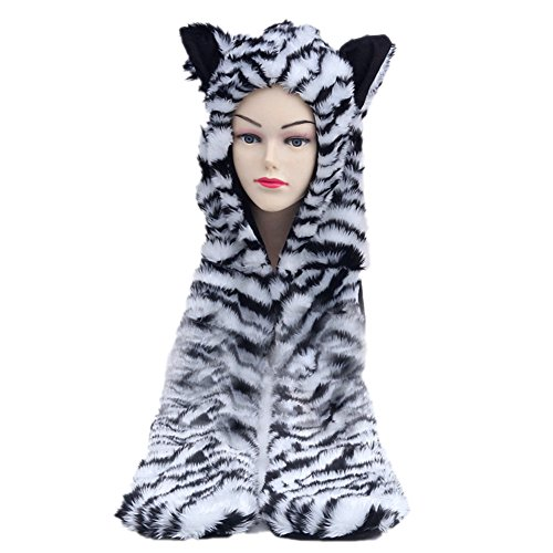 JLTPH Animal Hood Hoodie Faux Fur Gloves Scarf Hat with Spirit Paws Ears (Bear Hood With Paw Scarf)