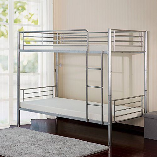 Bunk Bed - Merax Twin-Over-Twin Metal Bunk Bed in Silver Finish (Silver)