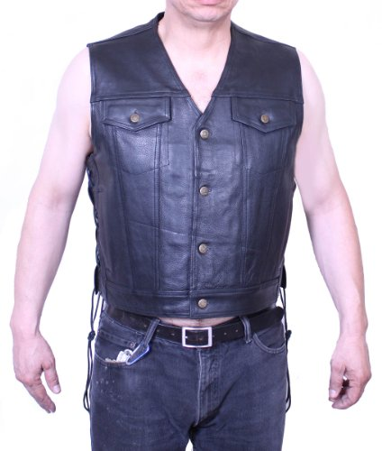 Soft Cow Leather Motorcycle Mens Sleeveless Jean Jacket S...