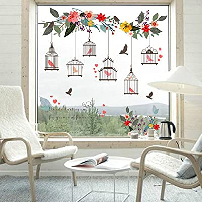 Pricuitie Decorative Birdcages Flowers Flying Birds Wall Stickers, Glass Decals Removable Art Wall Murals For Kid Room Bedroom Home Decor Wallpaper