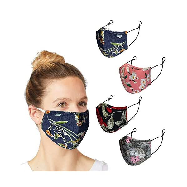 4 Pack Adult Face Masks Reusable - Cloth Face Mask Washable with Adjustable Straps