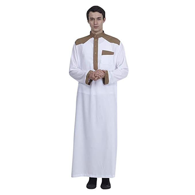 90057b0a946 Amazon.com  AMOFINY-Womens muslim dresses Islamic Clothing for Men Arabia  Plus Size Abaya Dubai Kaftan Jubba Robe White  Clothing