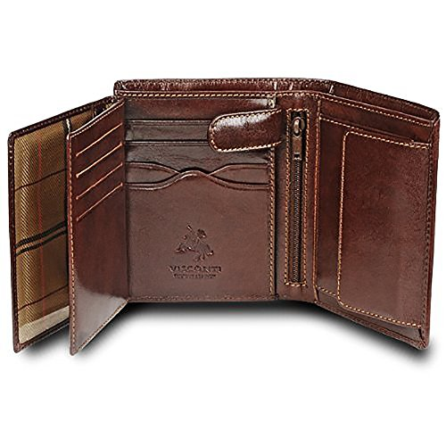 "Visconti ""MONZA 3"" Soft Italian Glazed Quad Fold Wallet (Brown)"