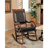 Coaster Traditional Rocking Chair, Nailhead Trim Style Bycast Leather