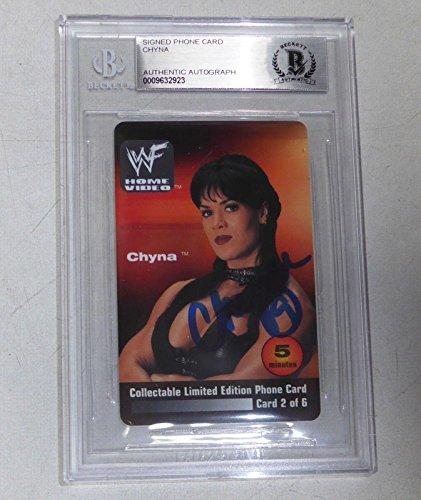 (Chyna Signed 2000 WWF Home Video Phone Card BAS Beckett COA RARE WWE Autograph - Beckett)