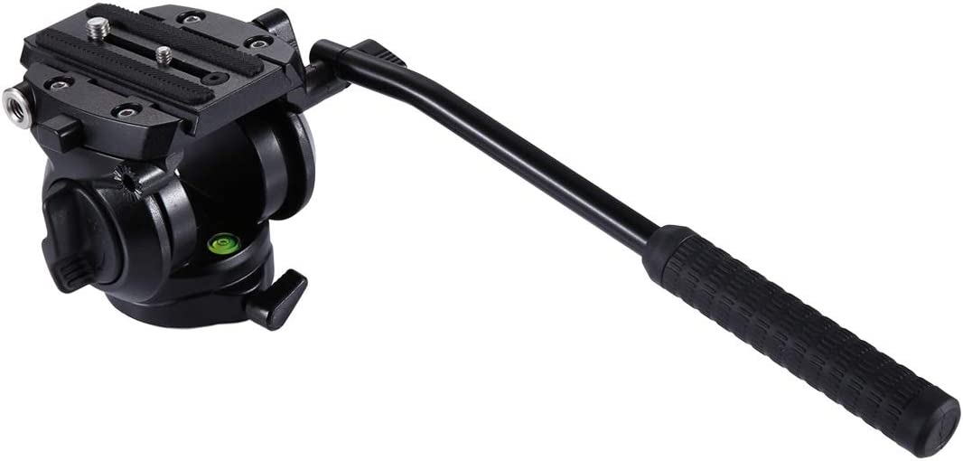 Black Camera /& Photo Products Heavy Duty Video Camera Tripod Action Fluid Drag Head with Sliding Plate for DSLR /& SLR Cameras Color : Black Small Size