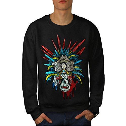 [Skull Indian Warrior Costume Men NEW M Sweatshirt | Wellcoda] (Mayan Warrior Costumes)