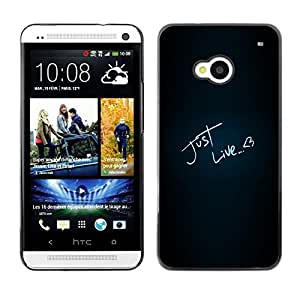 TopCaseStore / la caja del caucho duro de la cubierta de protección de la piel - Just Like Love Heart Neon Text Black - HTC One M7