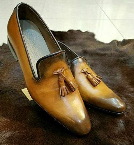Genuine Tan Leather Loafers Slip
