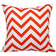 "TangDepot Decorative Handmade Zebra-Stripe / Wavy Line 100% Cotton Throw Pillow Covers /Pillow Shams, Many colors and sizes - (22""x22"", Orange)"