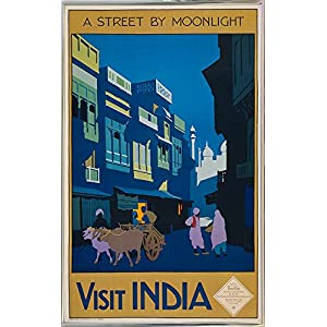 """Frame USA a Street by Moonlight-Visit India-PRIPUB131077 12.75""""x8"""" by Print Collection, 12.75x8, Silver Metal Frame"""