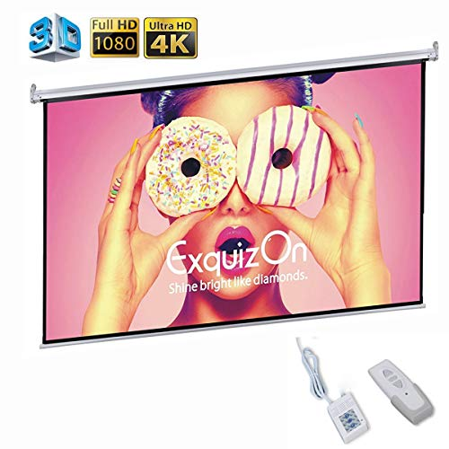 (Motorized Projector Screen with Remote Control, ExquizOn Ceiling Wall Portable Projector Screen 100 inch 16:9 1.2 Gain AUTO Electric HD 4K Indoor Outdoor for Family Home Theater and Office)