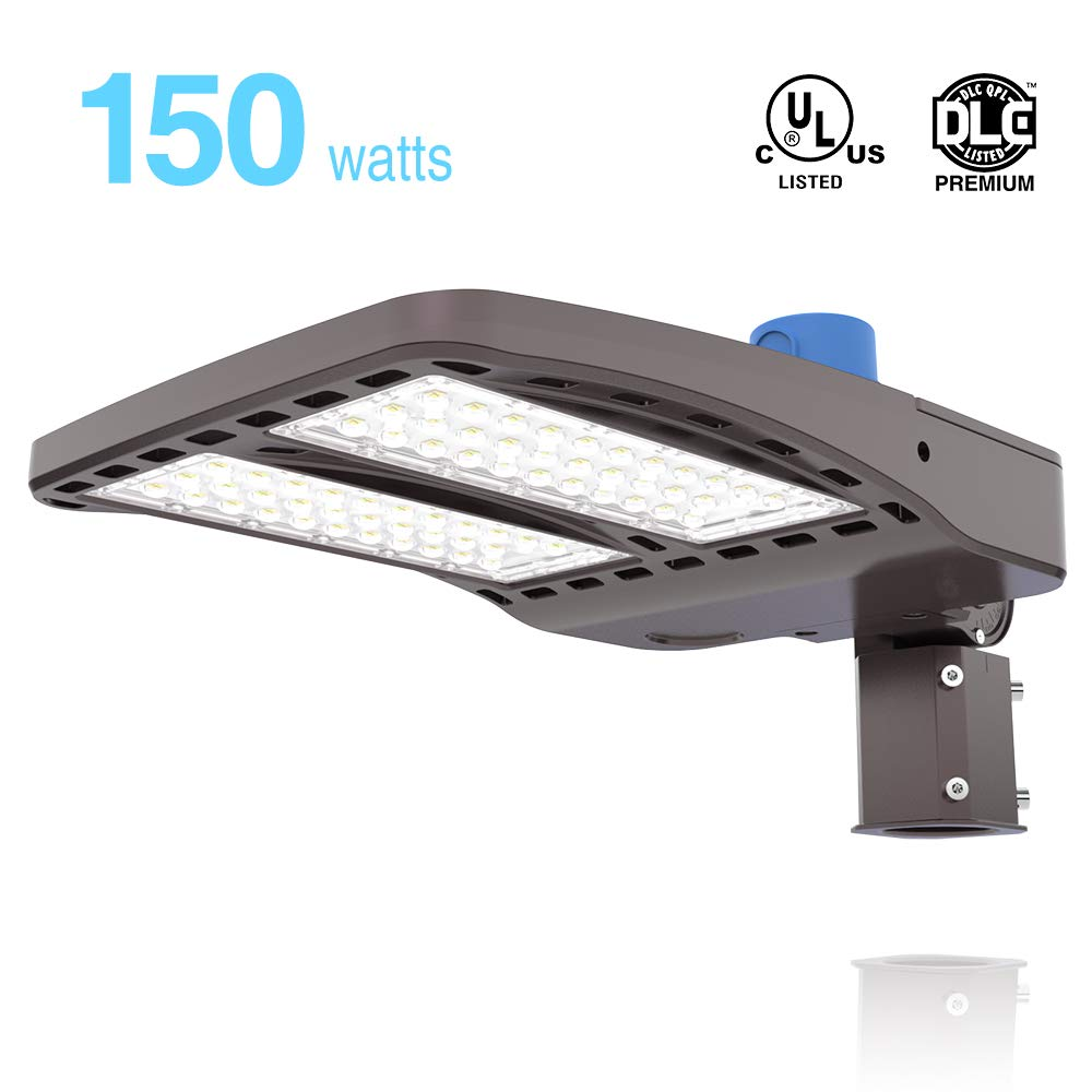 HYPERLITE LED Parking Lot Lighting 150W 20,250Lm (135lm/w) 5000K UL DLC Certified IP65 Led Shoebox Light with Dusk to Dawn Photocell Single Easy Installation Slip Fitter Included