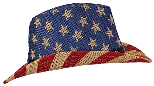 Tropic Hats Womens Cowgirl American/Americana W/Stars & Buckle Band (One Size) - Red/Tan/Blue (Stars Caps Stripes)