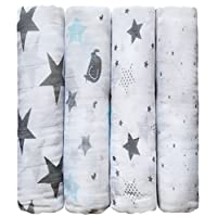 "CuddleBug Muslin Baby Swaddle Blankets ""Starry Nights"" Muslin Swaddles, Soft ..."