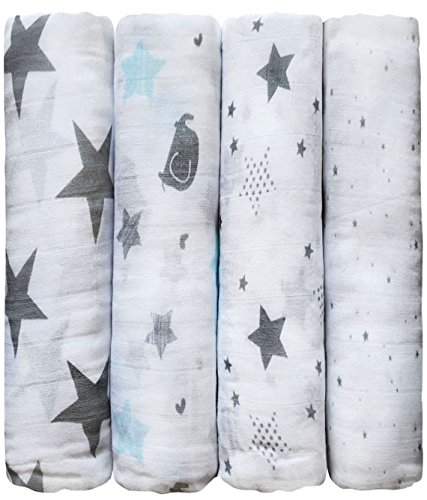 CuddleBug-Muslin-Baby-Swaddle-Blankets-Starry-Nights-Muslin-Swaddles-Soft-Cotton-Blankets-Baby-Shower-Gift-Perfect-for-Nursery-Sets-Unisex-Large-4-Piece