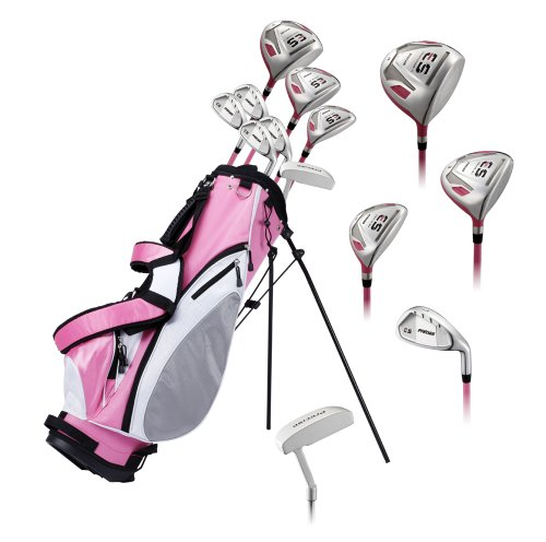 - Precise ES Ladies Womens Complete Right Handed Golf Clubs Set Includes Titanium Driver, S.S. Fairway, S.S. Hybrid, S.S. 7-PW Irons, Putter, Stand Bag, 3 H/C's Pink - Choose Size! (Regular Size)