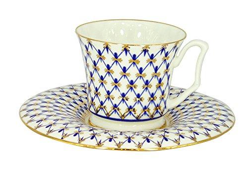 Lomonosov Porcelain Set Bone China Coffee Cup and Saucer Yulia Cobalt Net 4.9 fl.oz/145 ml