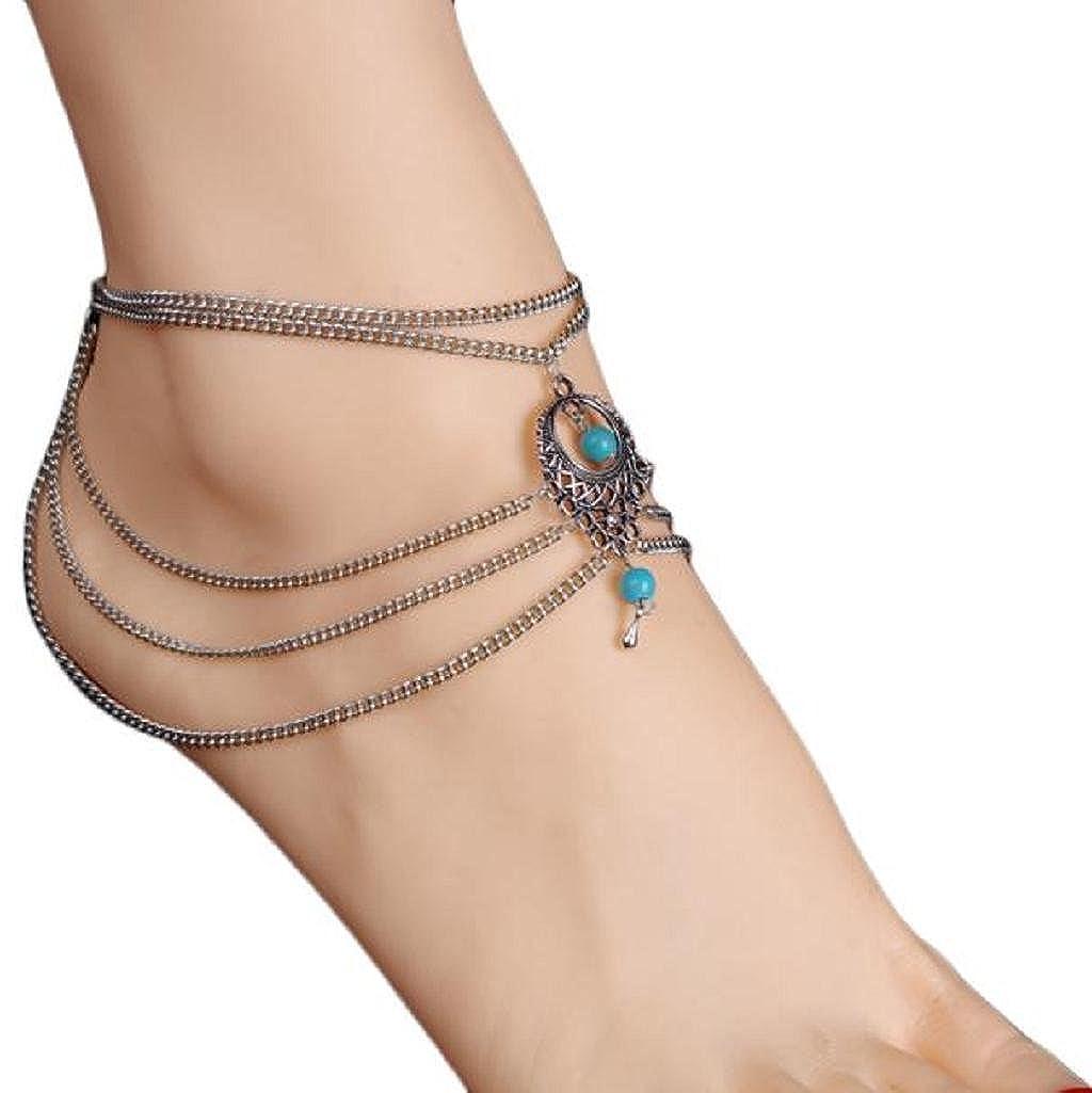 Tenworld Women Girls Beach Barefoot Sandal Foot Turquoise Jewelry Anklet Chain Tassel Tenworld-licanfly