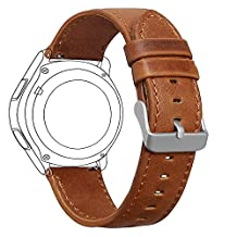 Samsung Gear S3 Frontier/ Classic Watch Band, FanTEK 22mm Genuine Leather Vintage Crazy Horse Replacement Strap Bands for Gear S3 Frontier/ Gear S3 Classic/ Moto 360 2nd Gen 46mm Smart Watch (Brown)