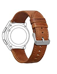 Samsung Gear S3 Frontier/ Classic Watch Band, FanTEK 22mm Genuine Leather Vintage Crazy Horse Replacement Strap Bands for Gear S3 Frontier/ Gear S3 Classic/ Moto 360 2nd Gen 46mm Smart Watch (Brown)