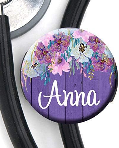 Stethoscope Tag Purple Wood Floral Personalized Name Steth ID Tag//Nurse Badge
