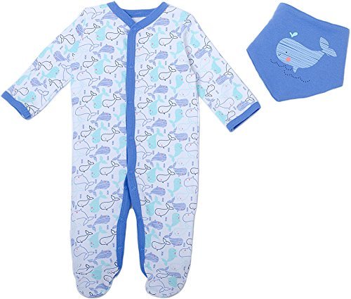Baby Boy Chick - Chick Pea Baby Boys Whales Footed Coverall Set 9 Months Blue/White/Purple