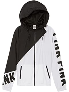 fa32e8b0 VS Pink Victoria's Secret Pink Anorak Windbreaker Jacket Full-Zip  Black/White XSmall/