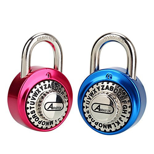 ABRAFOX 2-Pack Standard Dial Combination Lock Heavy Duty Word Padlock for School, Employee, Gym & Sports Locker, Case, Toolbox, Fence ()