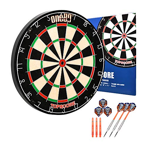 ONE80 Sisal/Bristle Topscore Dartboard with Staple-Free Bullseye and New Outer-Bull Construction and 3 Stainless Steel Darts 20g
