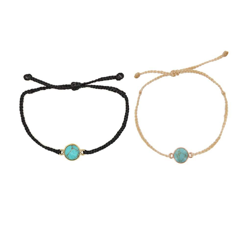 SUNSH 2PCS Handmade Braided Friendship Couple Bracelets for Women Girls Hippie Boho Beach Surf Woven Anklets Bracelet String Adjustable