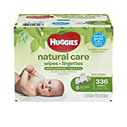 HUGGIES Natural Care Unscented Baby Wipes, Sensitive, Water-Based, 6 Flip-top Packs, 336 Count Total