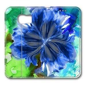 Enjoy happy life Samsung Galaxy S6 Case,,Blue flowers bloom Custom Samsung Galaxy S6 High-grade leather Cases
