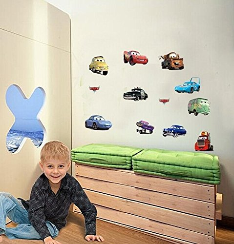 Wall Decal Sticker Cars Walt Disney Pixar Kids Bedroom and Kindergarten Mural (Disney Cars Mural)