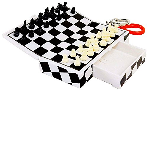 Pocket Game Chess on Key Chain - Magnetic Pieces, Travel Activity. by Basic Fun