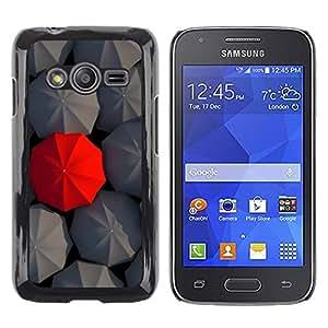 TopCaseStore / la caja del caucho duro de la cubierta de protección de la piel - Metaphor Grey Red Umbrella Special - Samsung Galaxy Ace 4 G313 SM-G313F